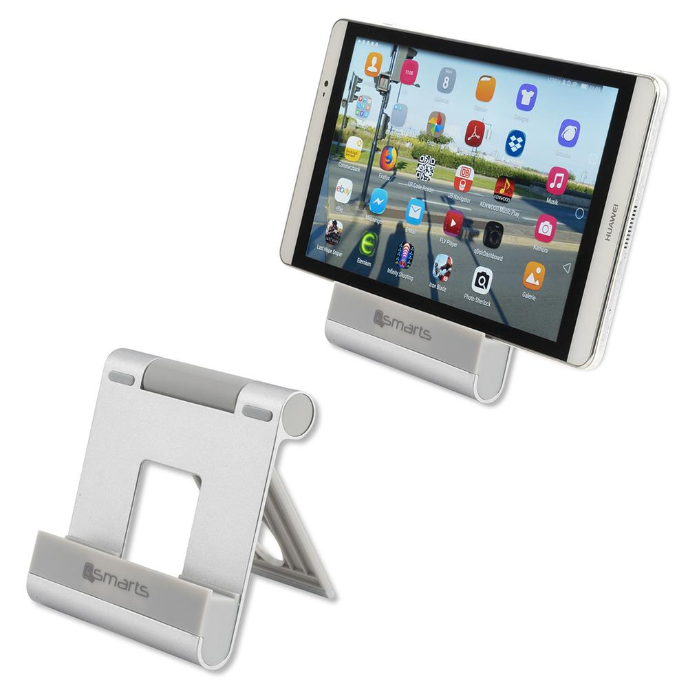 Image of   4smarts Aluminium Stander Til Smartphone og Tablet - Sølv