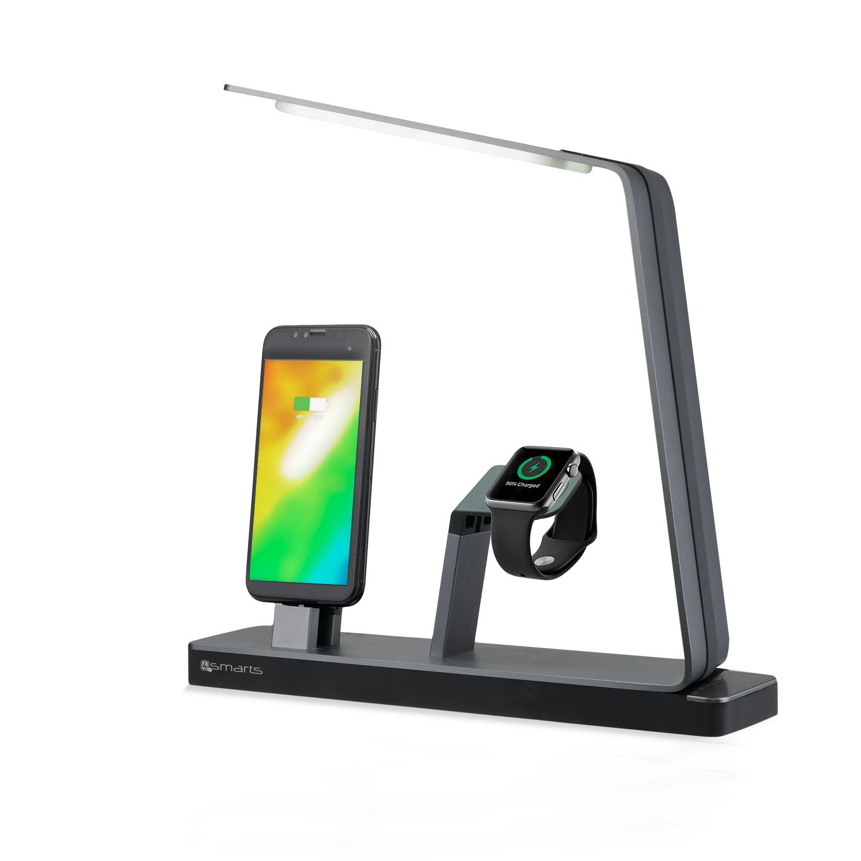 Image of   4smarts LoomiDock Charging Station w. LED Lamp For Apple Devices (w. Qi Watch Charger) Sort / Sølv