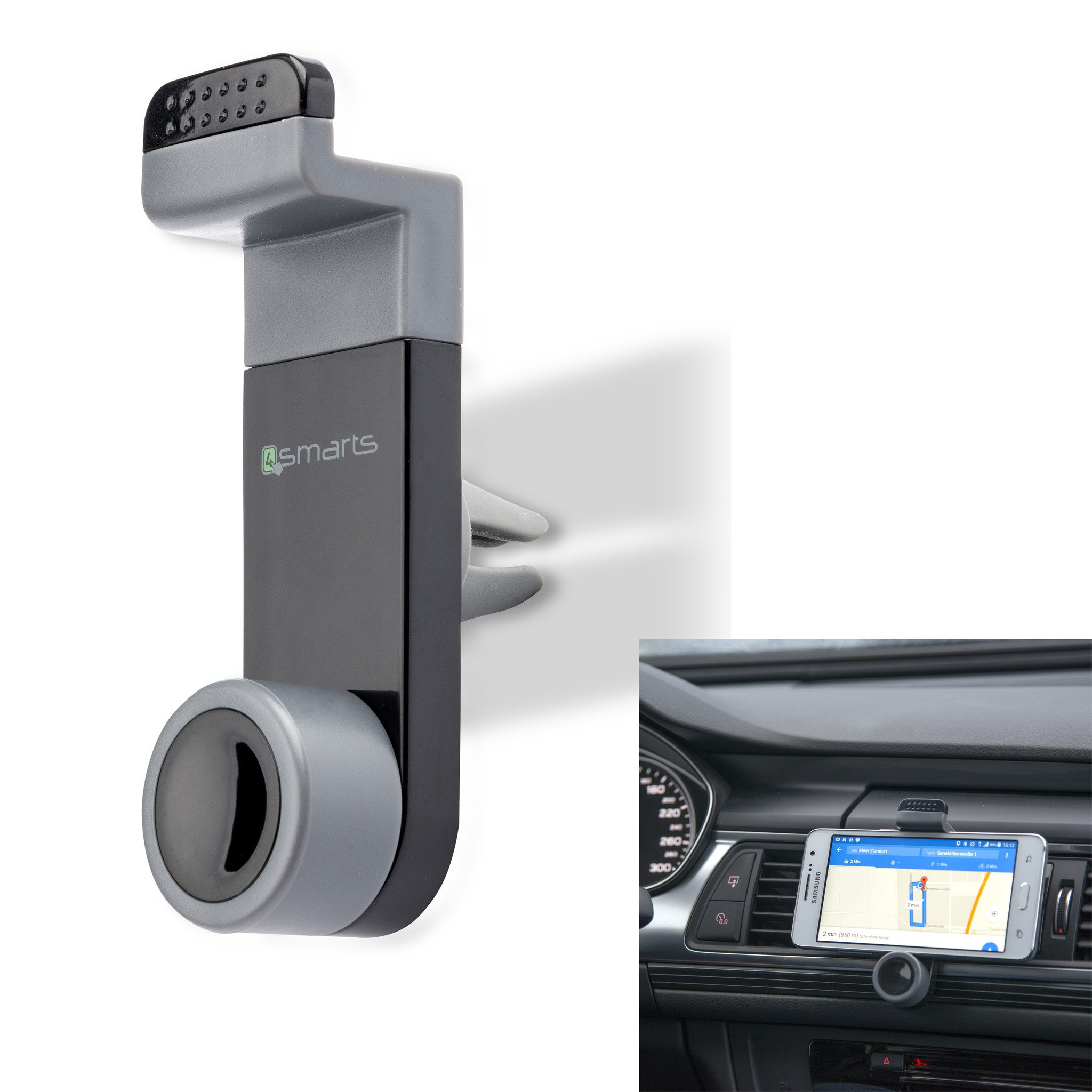 Image of   4smarts Car Air Vent Mobilholder til Bil - Grå / Sort