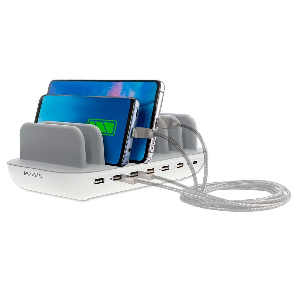 Image of   4Smarts 60W Charging Station m. 6 x USB-A & 1 x USB-C - Hvid
