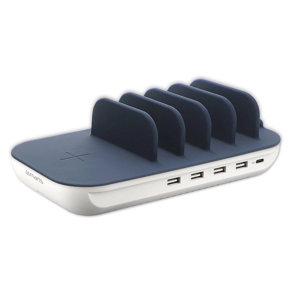 Billede af 4Smarts Charging Station Family Evo Version 63W m. 5 x Opladerkabler, Airpod Opladerstander & Trådløs Oplader - Hvid / Blå