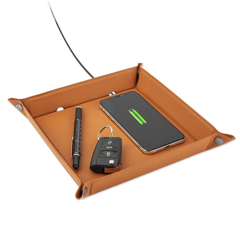 Billede af 4Smarts Pocket Tray Organizer - Lommebakke m. Trådløs oplader 15W - Brun