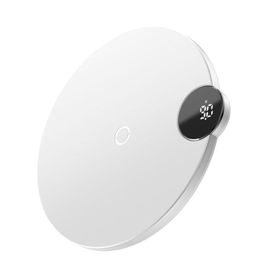 Billede af Baseus Digital LED Trådløs Oplader 15W - Hvid