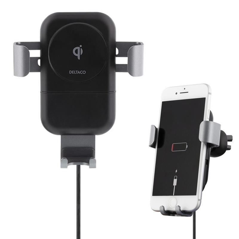 Image of   Deltaco Fast Wireless Car Charger m. Bilholder - Sort