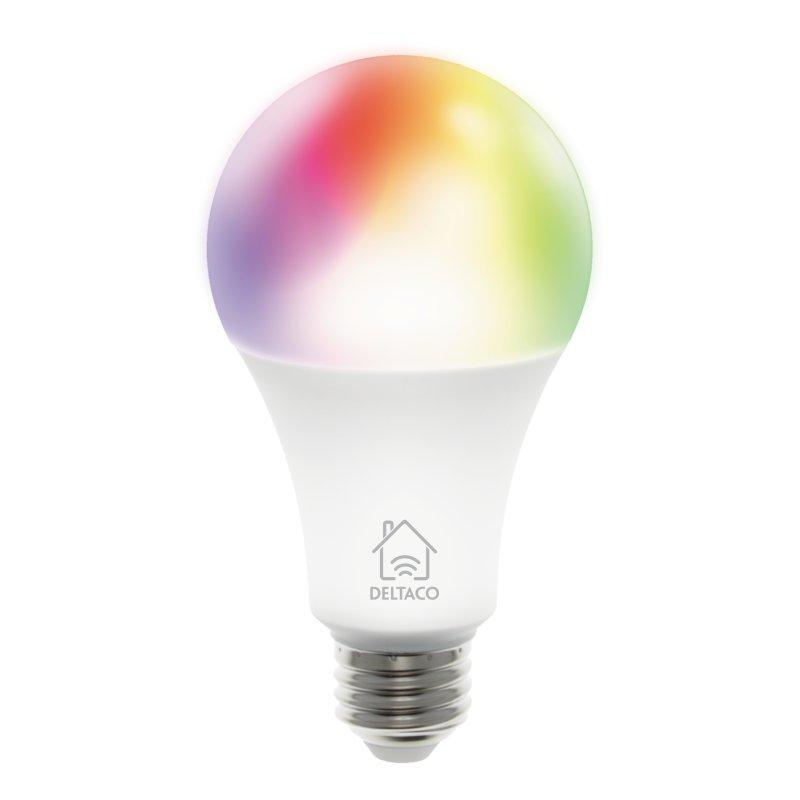 Image of   Deltaco Smart Home E27 Smart Bulb m. RGB 9W - Hvid