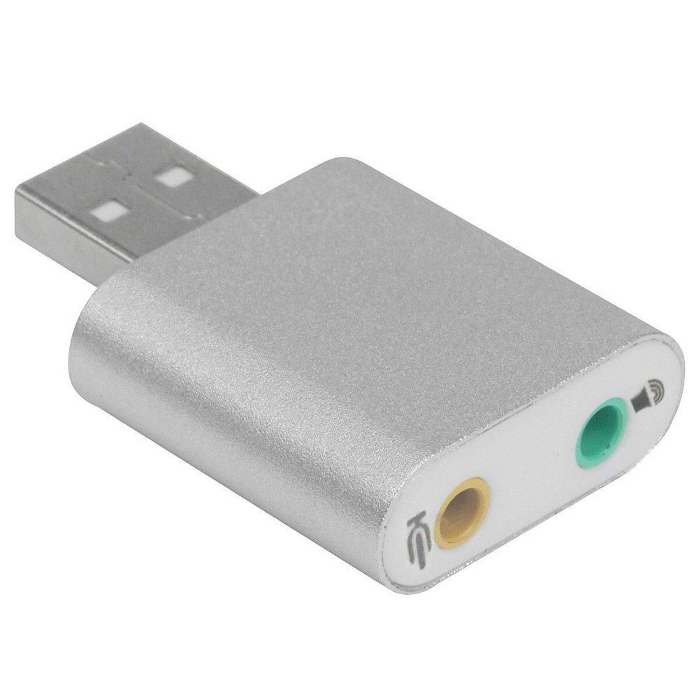 Lyd Adapter USB til Lyd og Mikrofon - Sølv