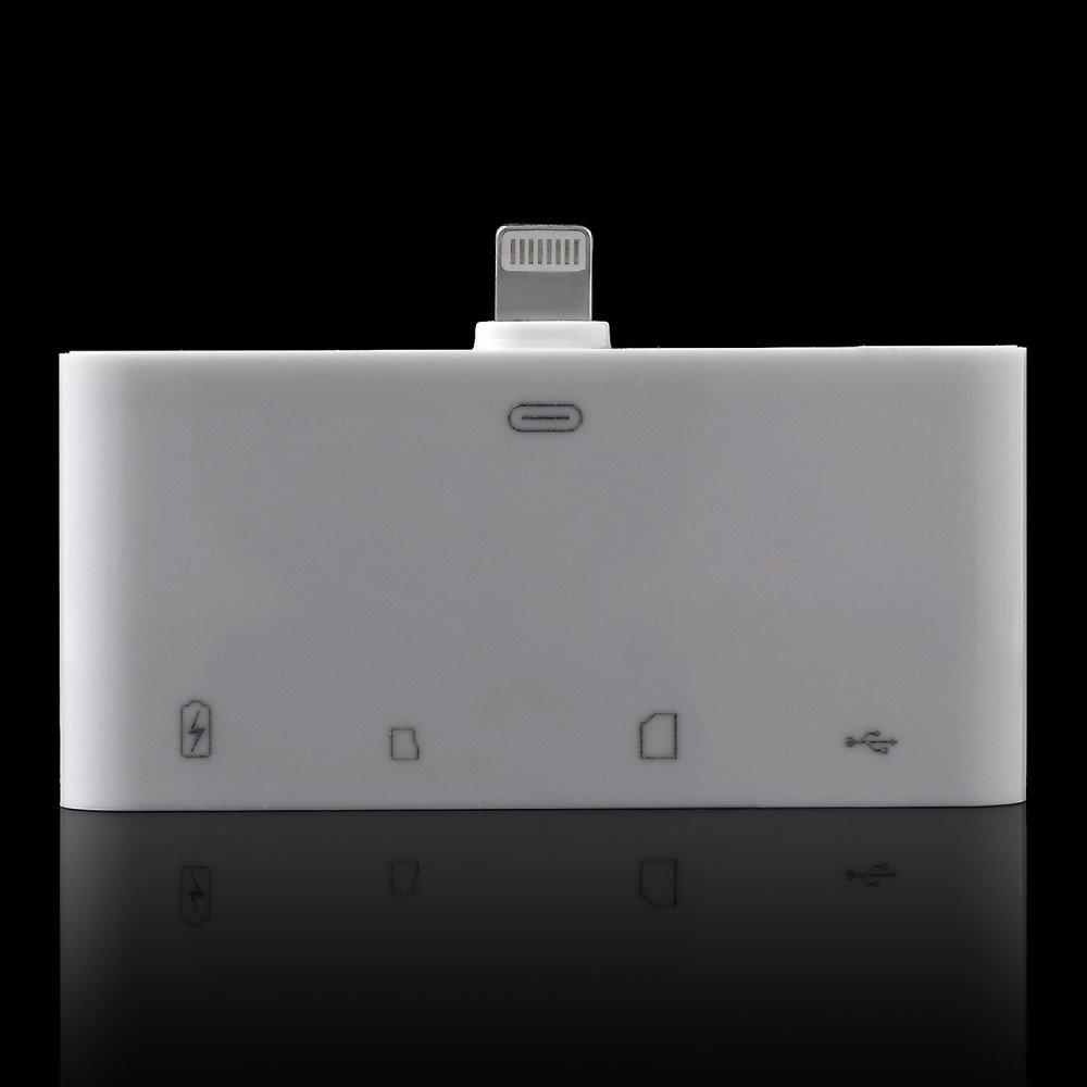 Image of   4 i 1 Lightning 8pin Til Micro USB/USB/TF/SD Kortlæser - Hvid