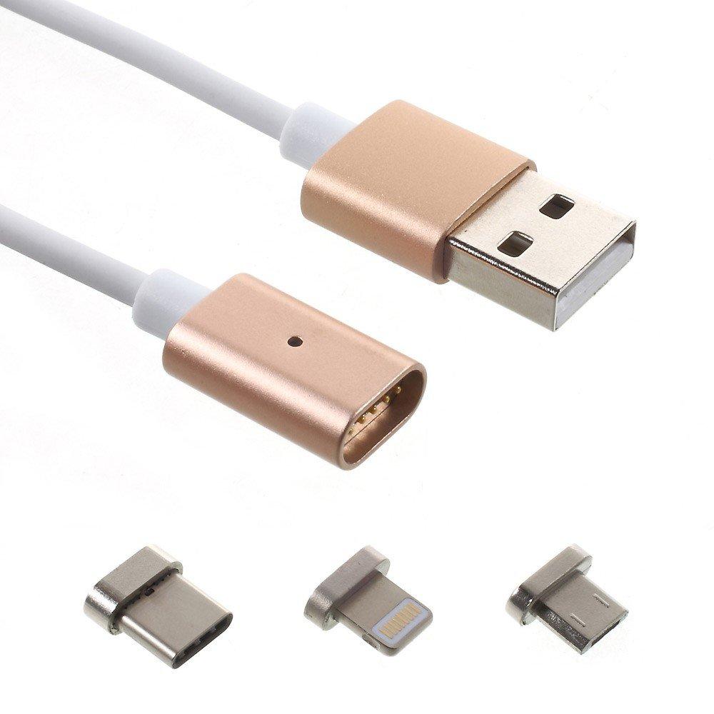 Image of   3 i 1 Magnetisk Lightning/Micro-USB/USB-C Oplade- og Datakabel - Guld