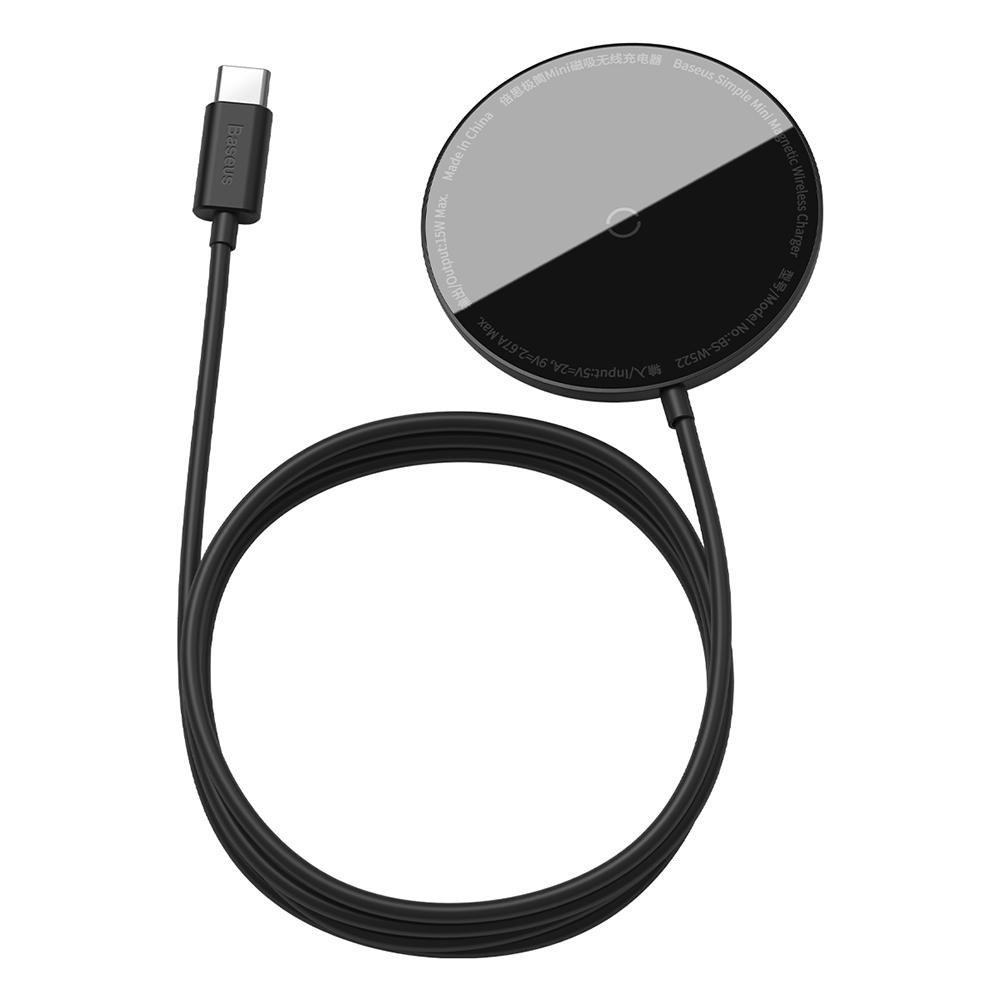 Billede af Baseus Simple Mini Magnetisk Trådløs Oplader - Kompatibel med MagSafe - Sort