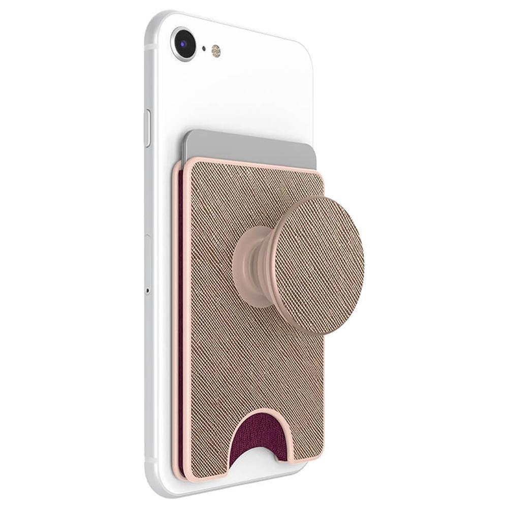 Image of   POPSOCKET PopWallet+ Premium Aftagelig Kreditkortlomme m. Popsocket Saffiano Rose Gold