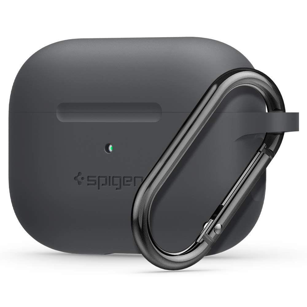 Image of   Spigen Silicone Fit Apple Airpods Pro Charging Case Cover m. Karabinhage - Charcoal