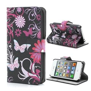 Apple iPhone 4S FlipStand Taske/Etui - Butterfly Flower