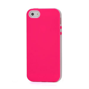 Image of   Apple iPhone 5/5S TPU Two-Tone cover fra inCover - rosa/hvid