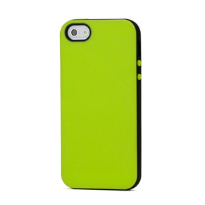 Image of   Apple iPhone 5/5S TPU Two-Tone cover fra inCover - lime/sort
