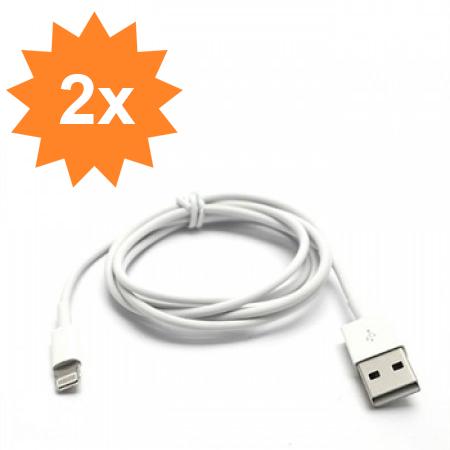 Image of   2x Apple Lightning USB Oplade- & Datakabel - Hvid 1M
