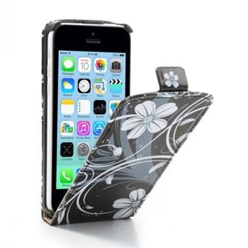 Apple iPhone 5C FlipCase Taske/Etui - White/Black Flower