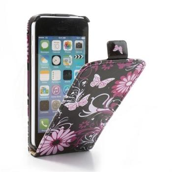 Image of Apple iPhone 5C FlipCase Taske/Etui - Black Butterfly