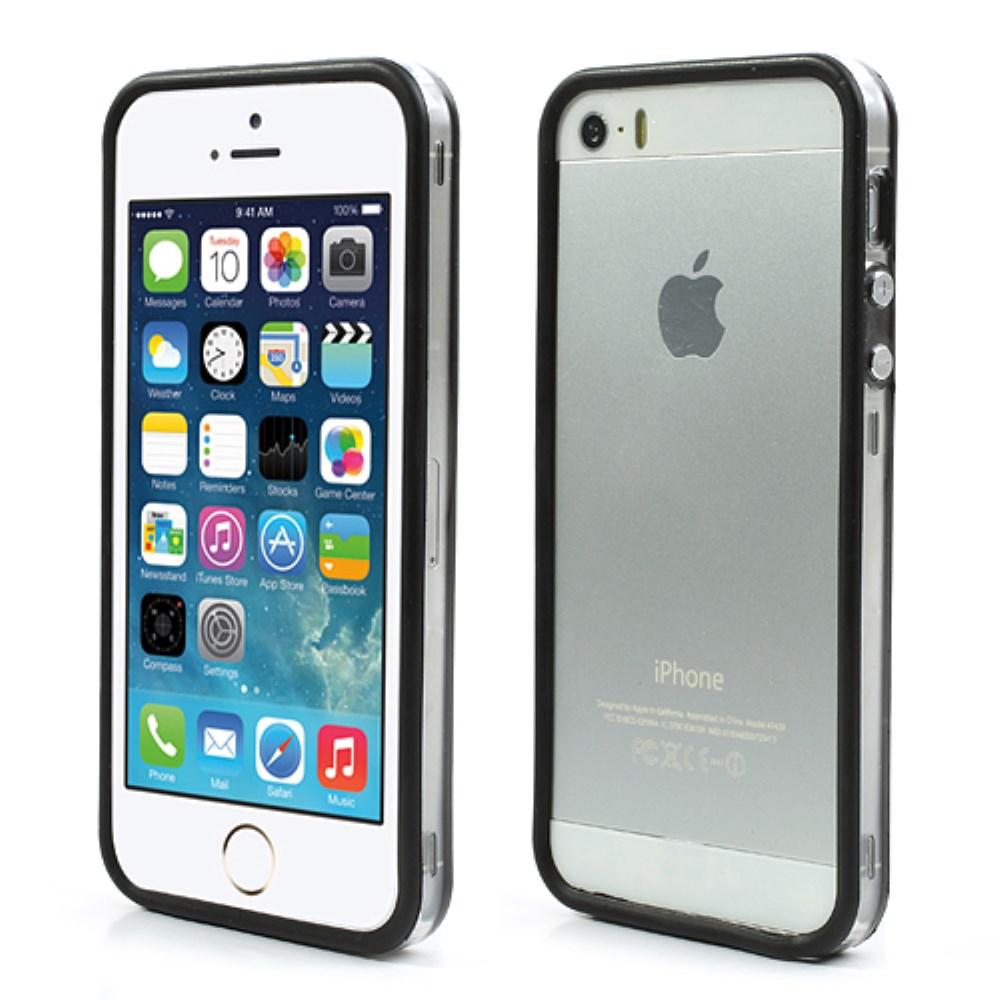 Image of   iPhone 5/5s/SE TPU Bumper - Gennemsigtig/Sort