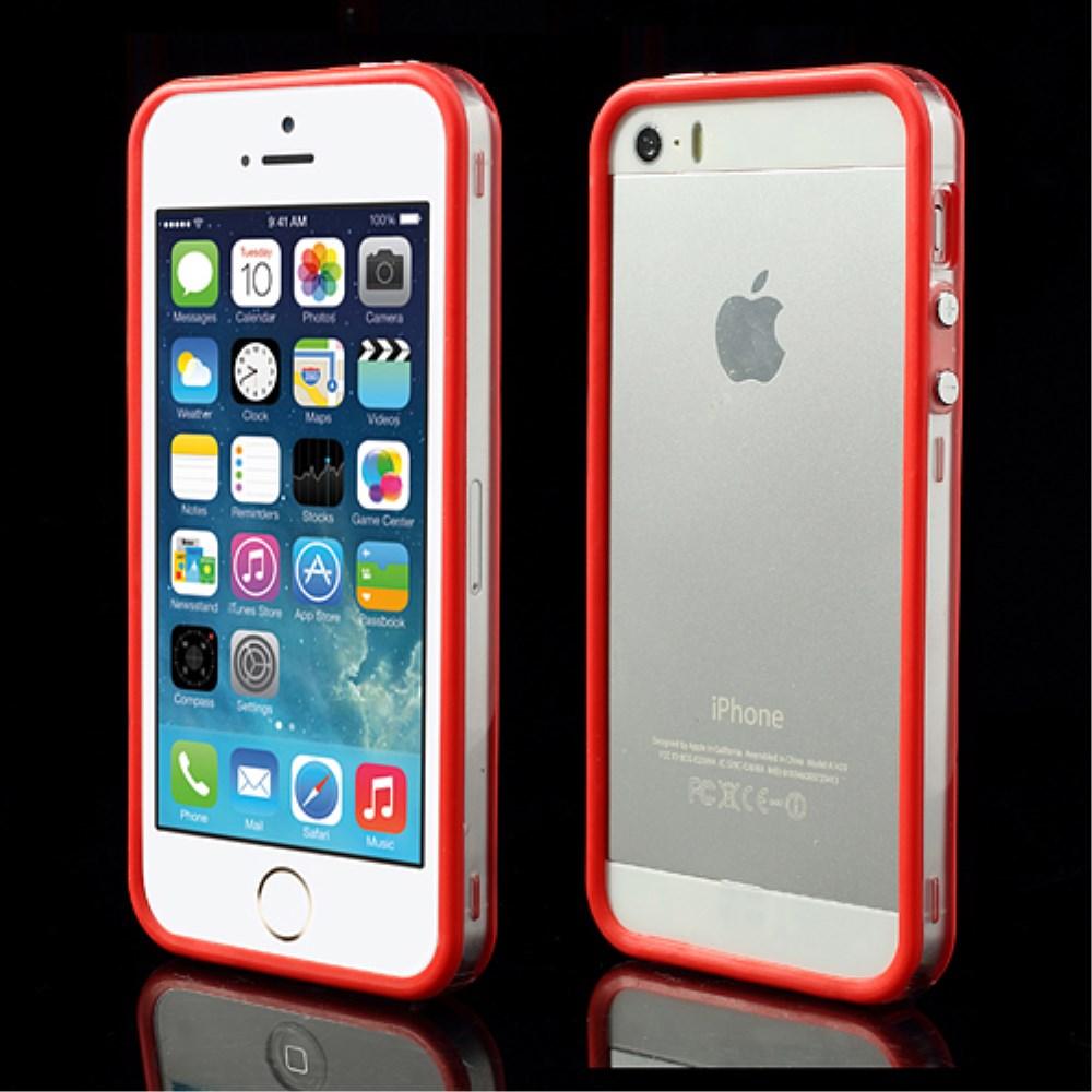 Image of   iPhone 5/5s/SE TPU Bumper - Gennemsigtig/Rød