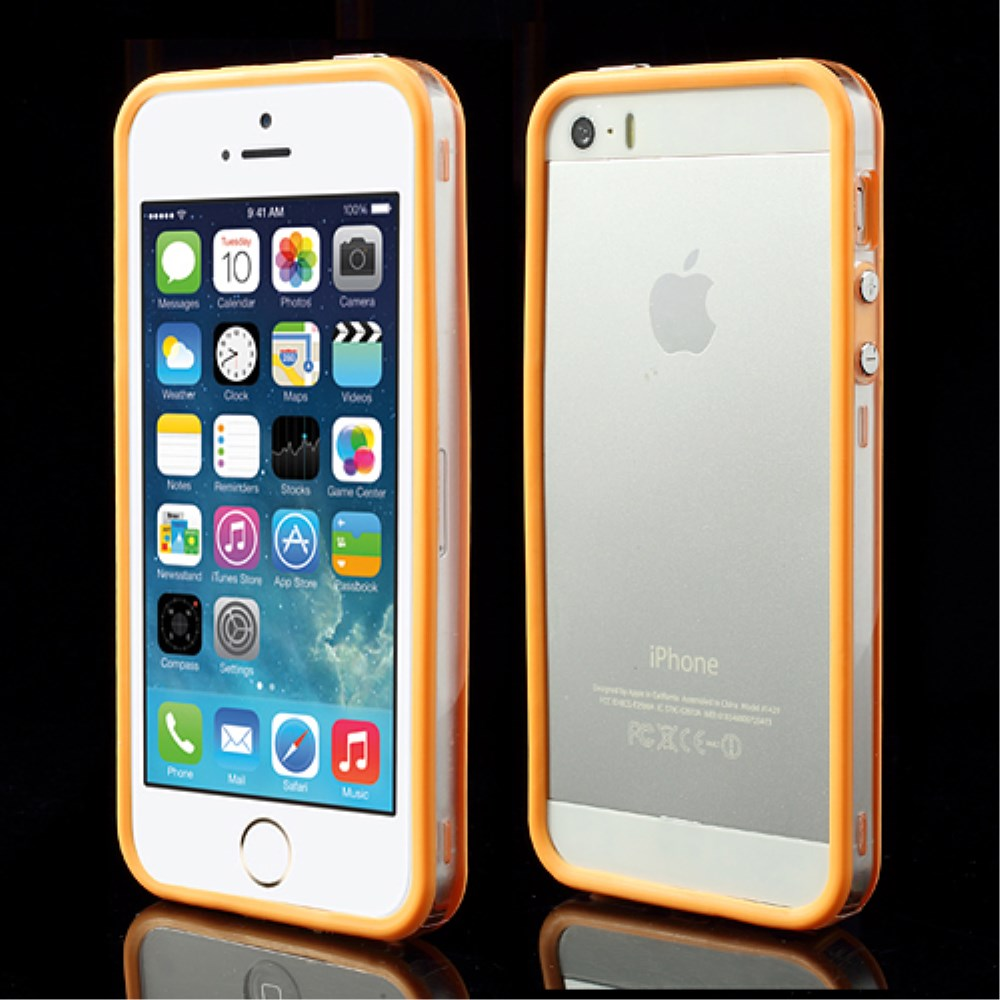 Image of   iPhone 5/5s/SE TPU Bumper - Gennemsigtig/Orange