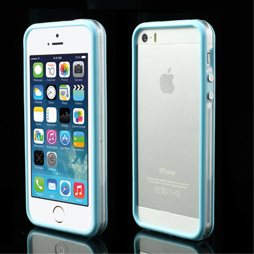 Image of   iPhone 5/5s/SE TPU Bumper - Gennemsigtig/Lys Blå