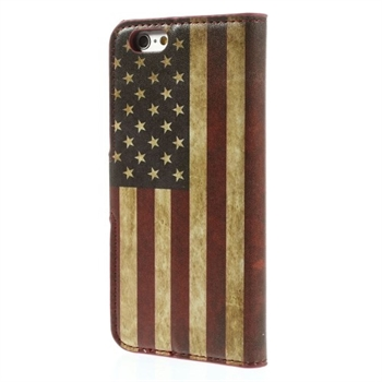 Image of   Apple iPhone 6/6s Design Flip Cover Med Pung - Stars & Stripes