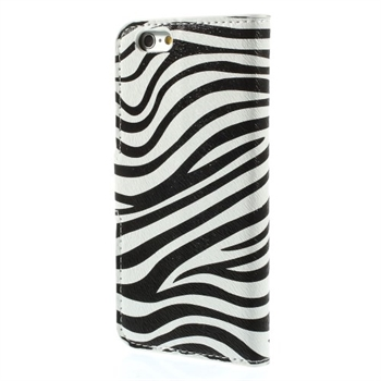 Image of   Apple iPhone 6/6s Design Flip Cover Med Pung - Zebra
