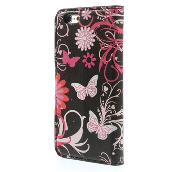 Image of   Apple iPhone 6/6s Design Flip Cover Med Pung - Butterfly Flowers