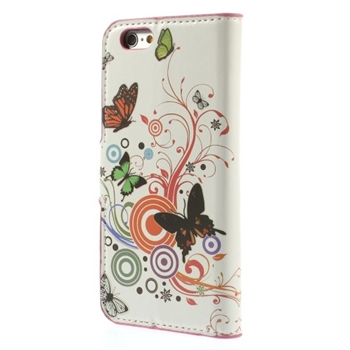 Image of   Apple iPhone 6/6s Design Flip Cover Med Pung - Vivid Butterfly