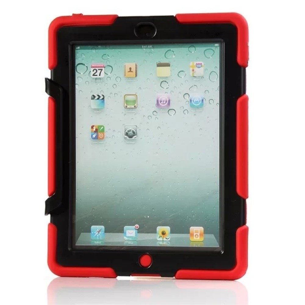 Image of Apple iPad 2/3/4 Heavy Duty Cover m. Stand - Rød