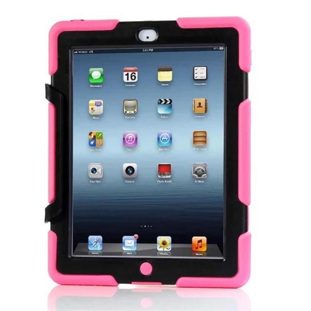 Image of   Apple iPad 2/3/4 Heavy Duty Cover m. Stand - Pink