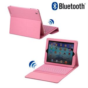 Image of   Lædertaske med bluetooth tastatur til Apple iPad 2, 3 og 4 - pink