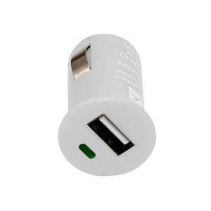 Billader med USB stik - hvid