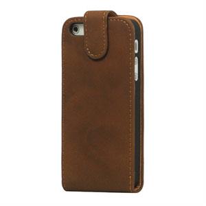 Billede af Apple iPhone 5/5S mobiltaske/etui med fliplukning - brun
