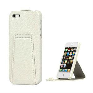 Image of   Apple iPhone 5/5S læder cover med indbygget stand - hvid