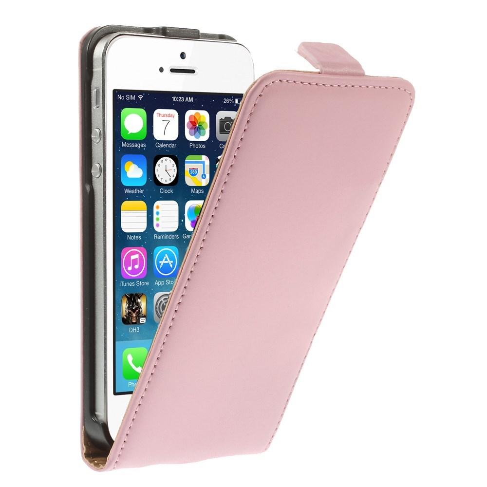 Billede af Apple iPhone 5/5s/SE inCover Premium Vertikal Flip Cover m. Magnetlukning - Lyserød