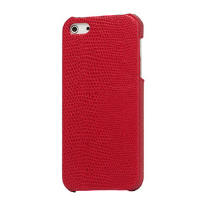 Image of   Apple iPhone 5/5S Design Plastik læder cover fra inCover - snake rød