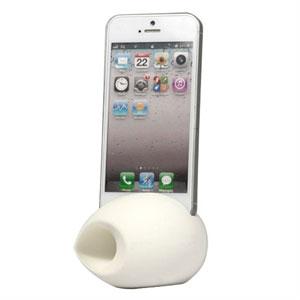 Image of   Apple iPhone 5 holder med forstærket højtalerlyd - hvid