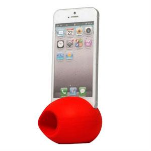 Image of   Apple iPhone 5 holder med forstærket højtalerlyd - rød