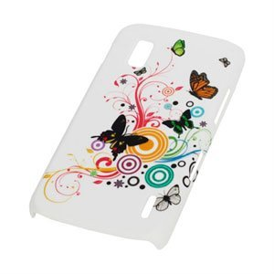 Image of Google Nexus 4 Design Plastik cover fra inCover - Butterflies hvid