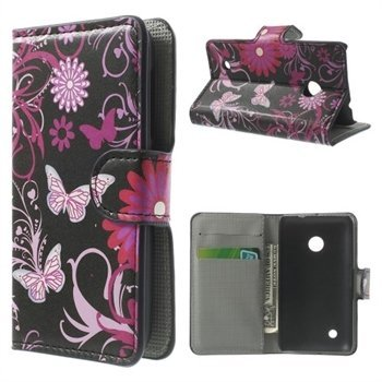 Image of Nokia Lumia 530 Design FlipCover Med Pung - Butterfly Flowers