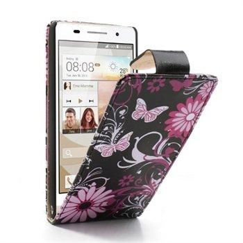 Image of Huawei Ascend P6 FlipCase Taske/Etui - Black Butterfly
