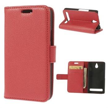 Billede af Sony Xperia E1 Design Flip Cover Med Pung - Rød