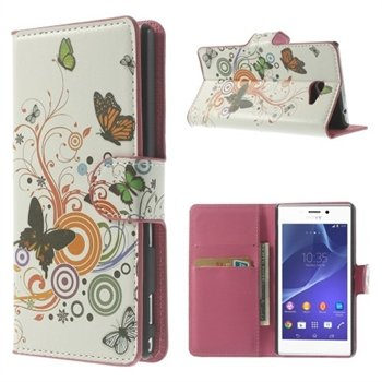 Billede af Sony Xperia M2 Flip Cover Med Pung - Vivid Butterfly