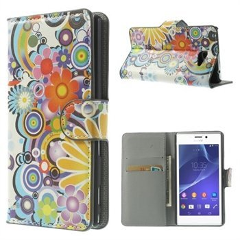 Image of   Sony Xperia M2 Flip Cover Med Pung - Flower Power