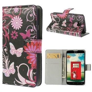 Image of LG L70 Flip Cover Med Pung - Black Butterfly