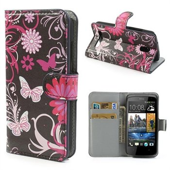 Image of HTC Desire 500 FlipStand Taske/Etui - Black Butterfly