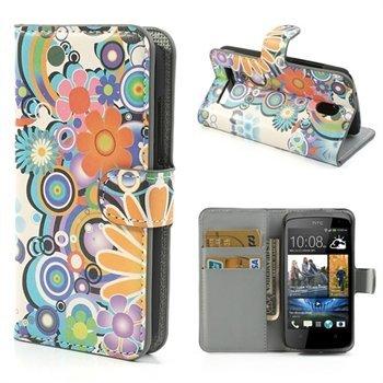 Image of HTC Desire 500 FlipStand Taske/Etui - Flower Power