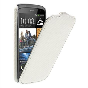 Image of HTC Desire 500 FlipCase Taske/Etui - Hvid Carbon