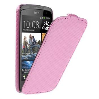 Image of HTC Desire 500 FlipCase Taske/Etui - Pink Carbon